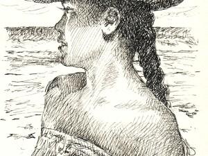 Femme au chapeau pandanus