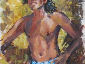 Tane Tahitien (Pareo bleu)