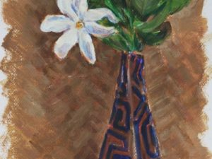 Tiare in vase on red cloth 2015